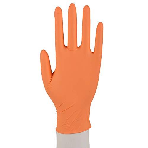 100 Nitril Handschuhe Puderfrei Einweg XS-XL Orange Größe XS (5-6)