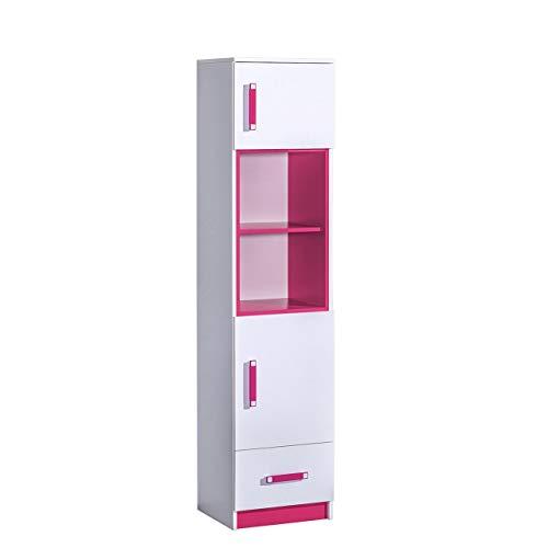 Furniture24 Regal TRAFIKO 04 mit 2 Türen und Schublade, Schrank, Hochschrank für Jugend und Kinderzimmer (Weiß/Rosa)