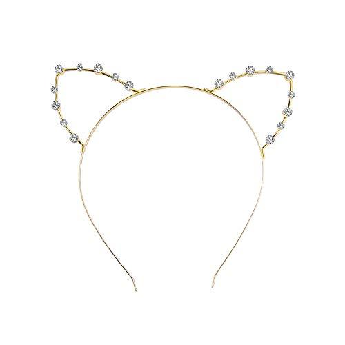 1X Toruiwa Katze Ohren Form Haarreif Party Stirnband Kostüm Kopf Haarband Haarschmuck künstlich Strass Schmuck für Hochzeit Party Bar (Gold)