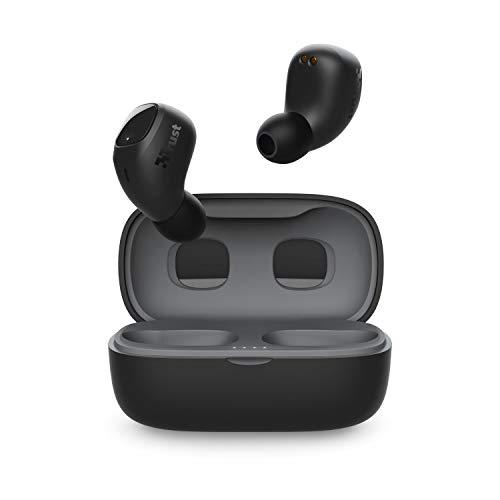 Trust Mobile Nika Compact Écouteurs Bluetooth sans Fil avec Coque de Charge (True Wireless, micro intégré, jusqu à 18h d utilisation) Noir