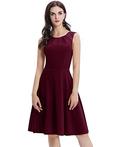 Bbonlinedress Sommerkleid Damen Cocktailkleid Kleider im Sommer Spitzenkleid Rockabilly 50er Vintage Knielang Ärmellos Burgundy-1 3XL