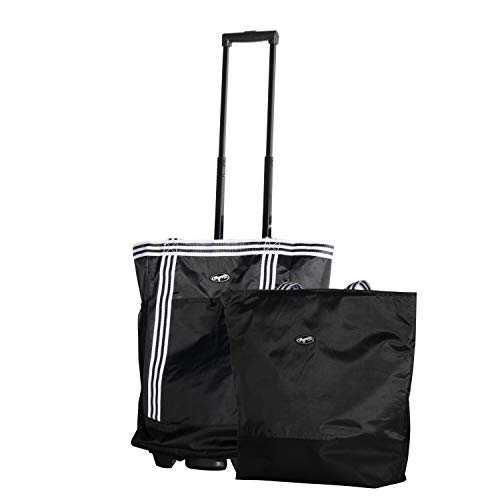 Olympia 2-Piece Rolling Shopper Tote and Cooler Bag, Black