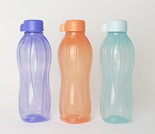 TUPPERWARE to Go EcoEasy 3X 500ml Lachs + Hellblau + Lila mit Schraubverschluss Trinkflasche Flasche EcoEasy Ökoflasche + Hängelöffel Rot