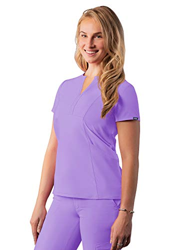 Adar Addition Scrubs for Women - Notched V-Neck Scrub Top - A6002 - Lavender - M