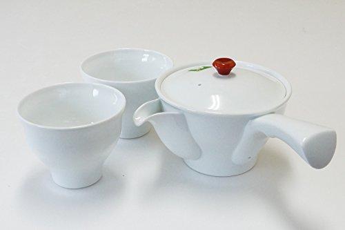 Imari Ceramics Ceremonia del té Japonesa Porcelana Conjunto Kyusu Tetera y 2 Copas Sencha Blanco y Rojo