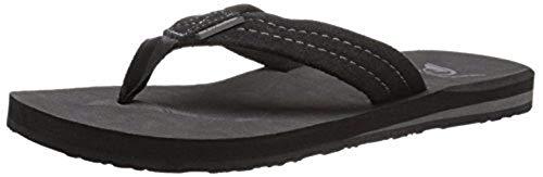 Quiksilver Men#039s Carver Suede 3 Point Flip Flop Athletic Sandal Solid Black 12 M US