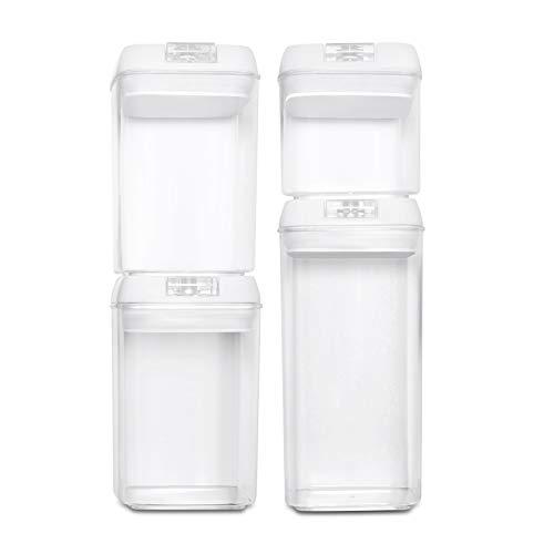 BASIL | Recipientes Almacenamiento Comida al Vacío - Juego de 4 Piezas - Cajas de Plástico Transparente para Alimentos y Tapa con Bomba - Cierre Hermético para Conservar en Armarios y Refrigeradora