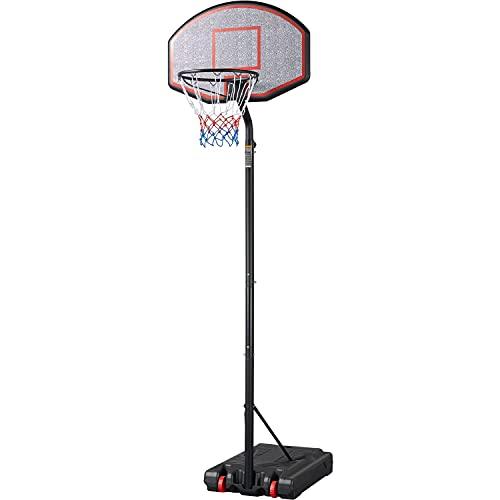 Yaheetech Basketballständer Outdoor Basketballkorb mit Rollen Verstellbar Basketballanlage Korbhöhe 304-353 cm Standfuß mit Wasser oder Sand befüllbar