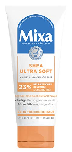 Mixa Shea Ultra Soft Hand & Nagelcreme - pflegender Handbalsam für trockene, rissige und raue Hände, Schutz & intensive Pflege mit Glycerin und Sheabutter, 100 g