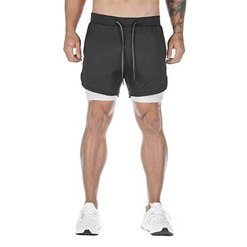 N /C Shorts de Running de Entrenamiento 2 en 1 para Hombre (Black, 3XL)