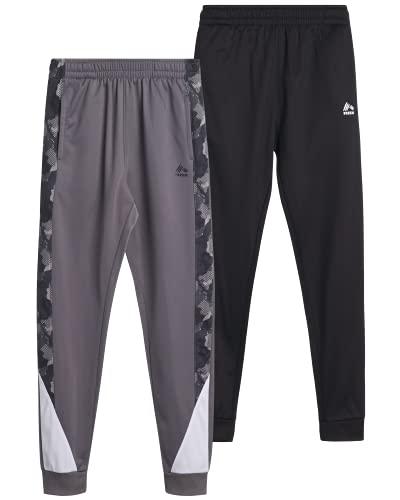 RBX Boy?s Sweatpants ? Active Tricot Jogger Playwear Pants, 2 Pack (Size: 4-7), Size 7, Green/Camo/Black