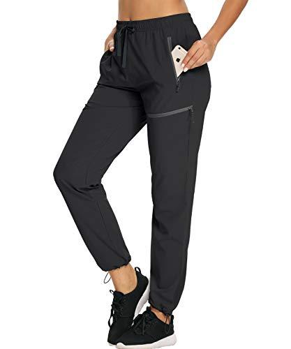 Pantalones de senderismo para mujer, ligeros, resistentes al agua, cintura elástica, UPF 50+, bolsillos con cierre, Negro 2, M