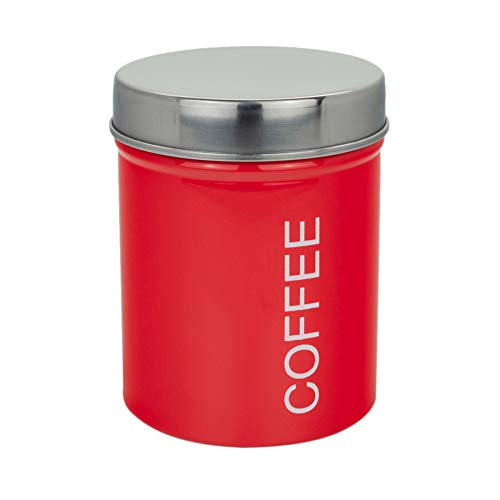 Harbour Housewares Boîte à café métallique - Joint en Caoutchouc sûr - Rouge
