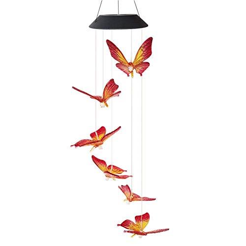 AJH Solaire lumière LED Couleur Changeante Papillon Carillon éolien Suspendu étanche extérieur décoratif Romantique Vent Cloche lumière