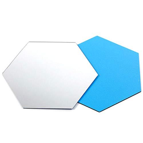 BOQIAN Pegatina de espejo hexagonal, adhesivo de pared extraíble para decoración del hogar, sala de estar, dormitorio (24 piezas)