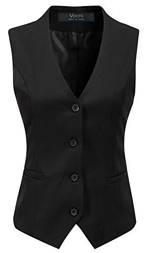 "Vocni Women's Fully Lined 4 Button V-Neck Economy Dressy Suit Vest Waistcoat (Black, US S+ (Fit Bust 35""-37.4"")-New)"