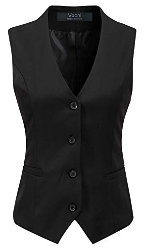 Vocni Women's Fully Lined 4 Button V-Neck Economy Dressy Suit Vest Waistcoat ,Black,US M ,(Asian 3XL)