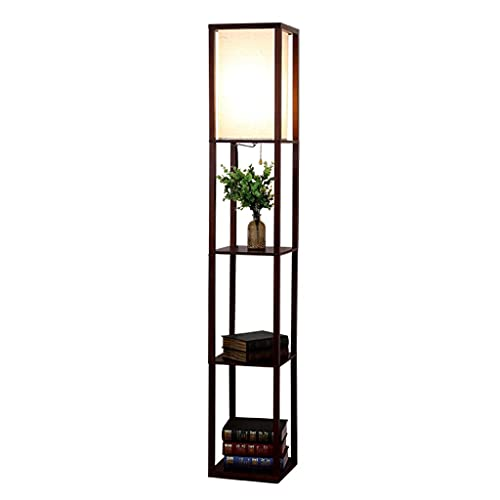 Aveo Lámpara de pie para sala de estar, estante de madera maciza, lámpara de pie simple para dormitorio, estudio creativo, lectura, lámpara de pie (color: caoba)