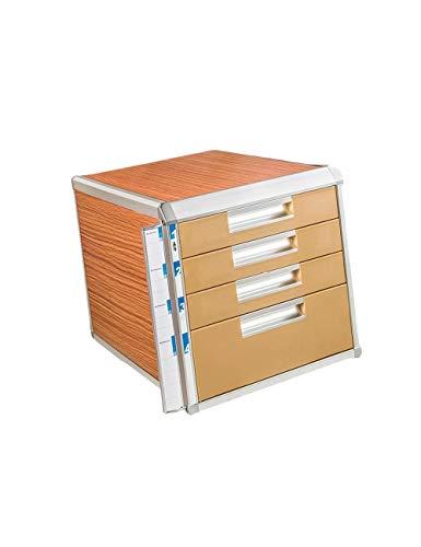 File cabinets 4th Floor Desktop Aluminum Alloy + Wood Board + Plastic File Holder Storage Box Family Office Cabinet Desktop Archive Storage Manager bookcase (Color : A)