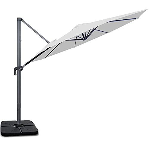 RANSENERS Sonnenschirm Ampelschirme Gartenschirm, 300cm Ø, Gestell Aluminium/Stahl, Bespannung Polyester mit UV Schutz 80+, 360° Drehbar, 4 Stufen einstellbar