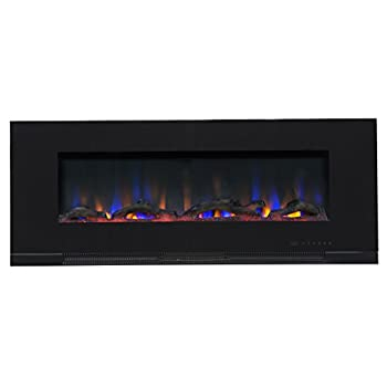 Touchstone ValueLine 50  10-Color in-Wall Recessed Electric Fireplace 50 Inch Wide Logset & Crystal 1200W Heat  Black