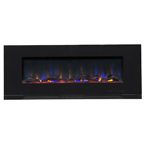 """Touchstone ValueLine 50"""" 10-Color, in-Wall Recessed, Electric Fireplace, 50 Inch Wide, Logset & Crystal, 1200W Heat (Black)"""