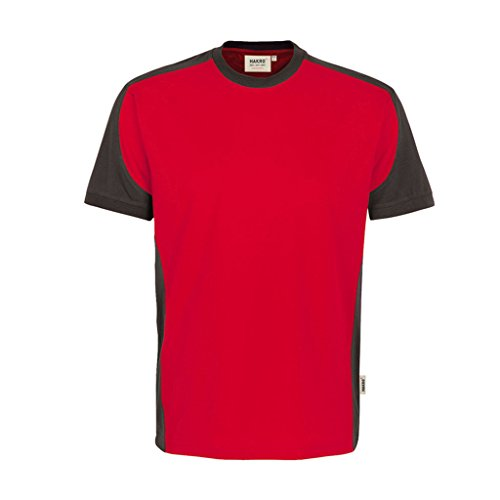 HAKRO Contrast Performance T-Shirt rot grau | S