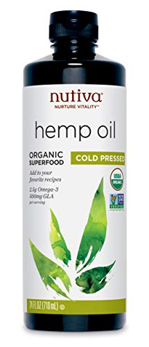 Nutiva Organic, Cold-Pressed, Unrefined Hemp Seed Oil from non-GMO, Sustainably Farmed Canadian Hemp, 24-ounces