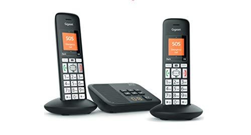 Gigaset E375A / E370A Duo Black Edition Schnurloses Telefon für Senioren mit Anrufbeantworter, mit großen Tasten und SOS-Funktion, einfache Bedienung, extra großes Farbdisplay, einfache Bedienung