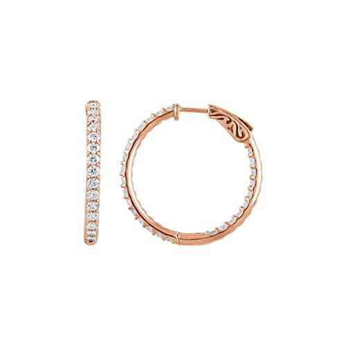 Orecchini a cerchio da donna in oro rosa 14 ct con diamante da 2 CTW all'interno, 29,5 mm