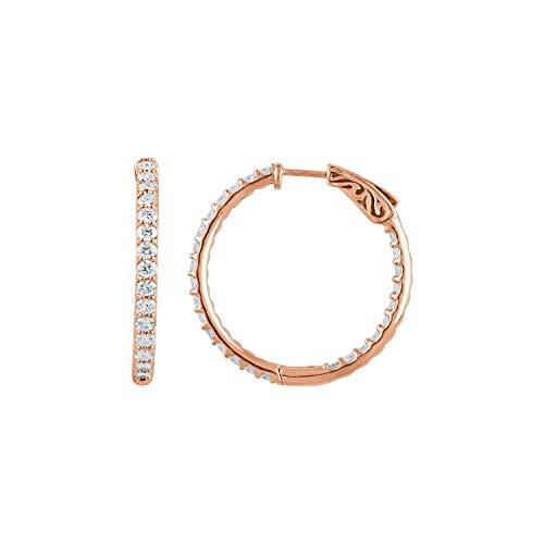 Orecchini a cerchio da donna in oro rosa 14 ct con diamante da 2 CTW all'interno, 29,5 mm