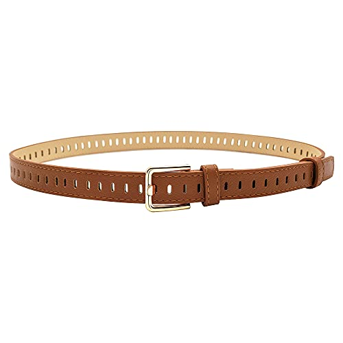 """Women Faux Leather Belts for Jeans Pants lorgamax With Hollow Out Design Waist Belt, Fit pant size below 34"""",C-Brown"""