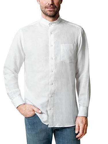 Walbusch Herren Hemd Stehkragen Leinenhemd einfarbig Weiß 45-46 - Langarm