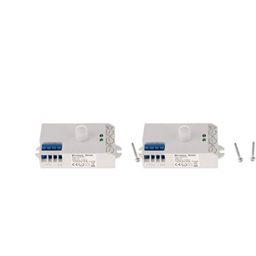 perfk 2x Interruptor de Luz de Techo con Sensor Rador de Microondas DC12-24V para Interior Y Exterior
