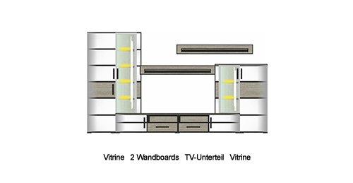 4-tlg. Wohnwand in Silbereiche Nachbildung, Fronten in weiß-Struktur und Absetzungen in Silbereiche Nb., Maße: B/H/T ca. 296/198/50 cm - 5