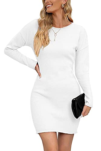 Vthereal Damen Pullover Stretch Pulloverkleid Elegant Strickkleid Casual Strickpullover Strickkleider Winterkleid Langarm Pullikleid Tunika Kleid...