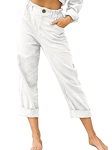 Women Solid Color Straight Trousers Slim Fit High Waist Long Pants with Pockets for Spring Autumn Streetwear (White, X-Large)