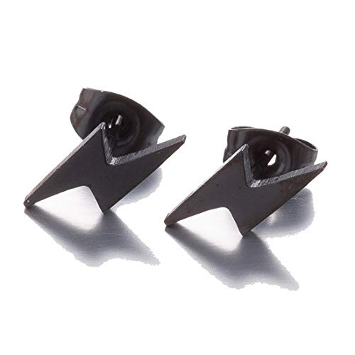 Stainless Steel Simple Punk Lightning Bolt Flash Thunder Button Stud Earrings Women Mens Cool Party Jewelry-black