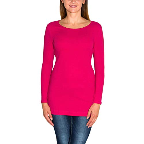 Alkato Damen Langarm Longshirt Tunika Basic Shirt, Farbe: Amarant, Größe: S
