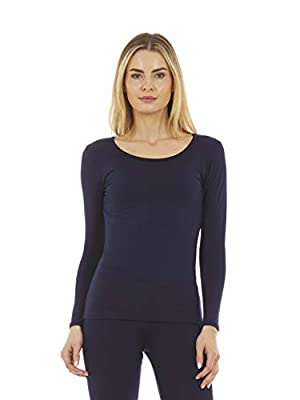 Thermajane Women's Ultra Soft Scoop Neck Thermal Underwear Shirt Long Johns Top with Fleece Lined (Navy, S)