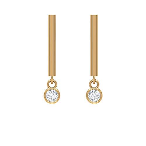 Pendientes colgantes de barra para mujer con gota de diamante, parte trasera de rosca, Metal, Diamond,