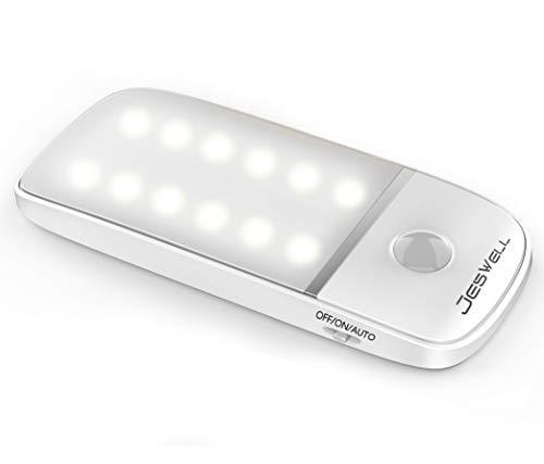 Bewegungsmelder Nachtlicht, JESWELL-Schranklichter mit 12 LEDs, Nachtlichter mit abnehmbaren Magnetstreifen, feste Kleiderschränke, Küchenschlafzimmer Korridor Garage(Kühles Weiß 1PCS)