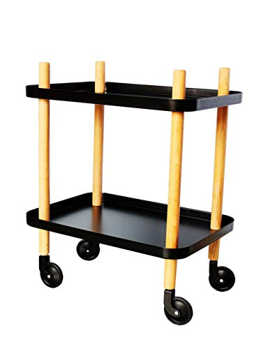 BJYG B-K Small Cart Double Shelf Storage Rack Living Room side Bedroom Bedside Table with Roller Small Table Storage Trolley