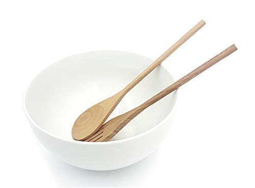 Pack ➤ Ensaladera de Porcelana + Cubiertos de Bambú para servir ensalada/ Cuenco grande y bonito/ Tazón de Cocina ➤ (pack 1 Blanco)