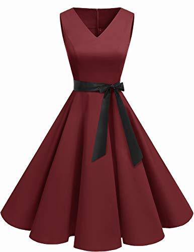 bridesmay 1950er V-Ausschnitt Kleid Vintage Cocktailkleid Rockabilly Retro Schwingen Kleid Faltenrock Burgundy M