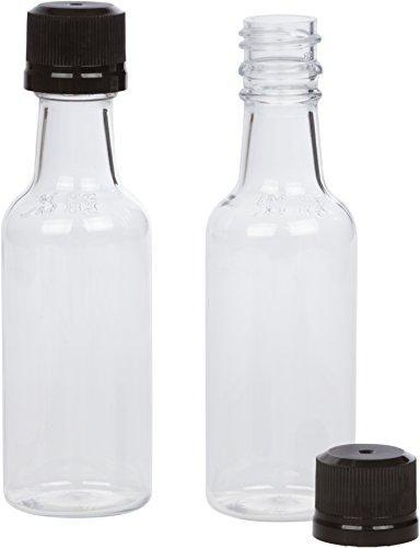 (12) Mini Liquor Bottles 50ml Black Mini Empty Plastic Alcohol Shot Bottles (Black)