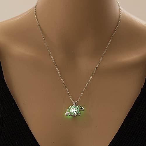 YQMR Collares Luminoso Colgante,Señoras Noche Brillante Verde Colgante Moda Vintage Collar De Plata Diseño Animal Joyería Mujeres Cumpleaños Día O La Fiesta