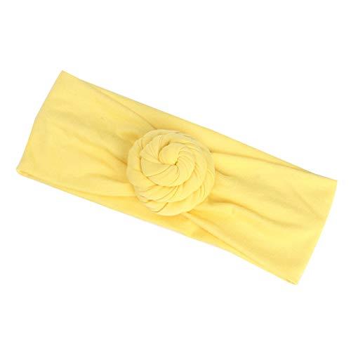 Busirde Baby-Knoten-Stirnband-Kind-Mädchen-Turban Cotton Kopfbedeckung Wrap geknotete Kind-Haar Accessorie Band Gelb