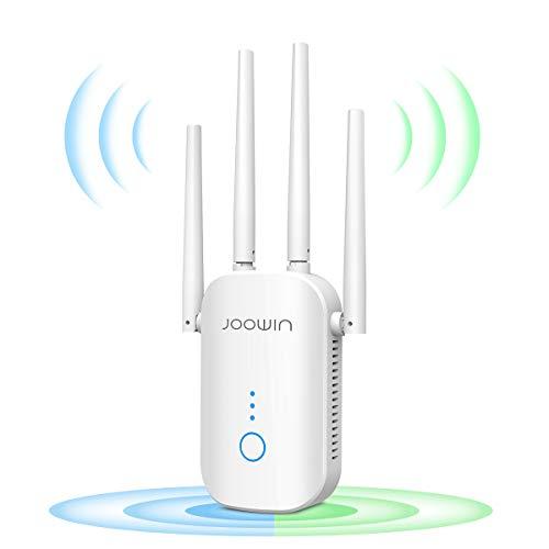 JOOWIN WLAN Repeater 1200 Mbit/s 2,4 GHz und 5 GHz Zweifrequenz-WLAN-Netzwerksignalverstärker,WLAN Access Point Extender, 4 Antennen, Ethernet-Verbindung, Ap-Modus/Router-Modus/Bridge-Modus
