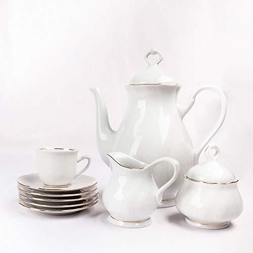 Juego de Café de porcelana blanco Filo de Oro 27 piezas - 12 Tazas, 12 Platitos, 1 Cafetera, 1 Lechera, 1 Azucarero | Modelo Francés Lubeck